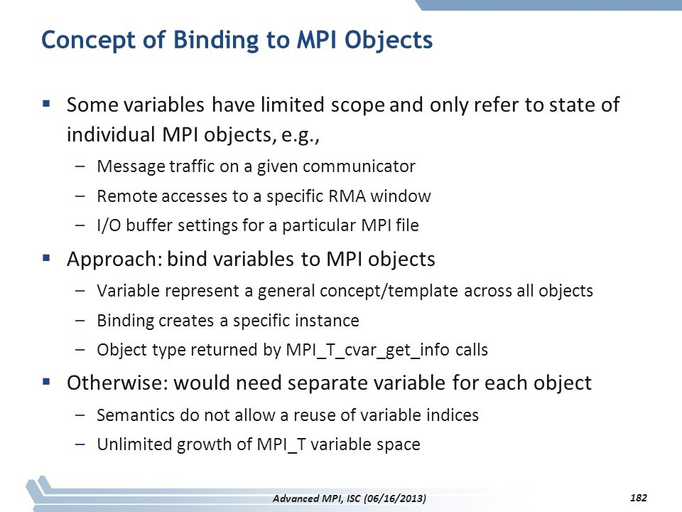 Concept of Binding to MPI Objects
