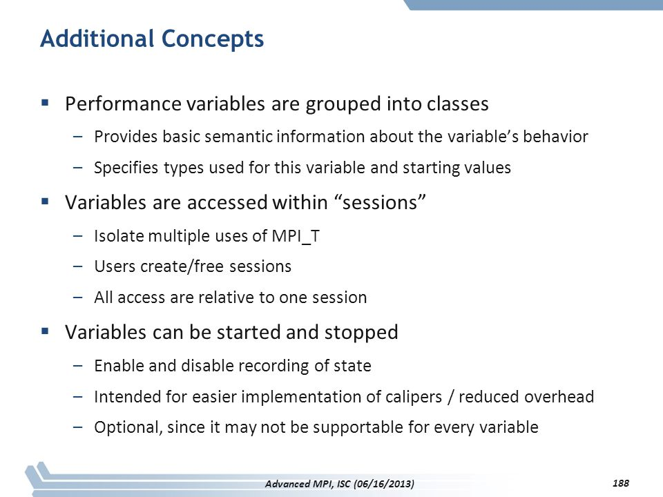 Additional Concepts Performance variables are grouped into classes