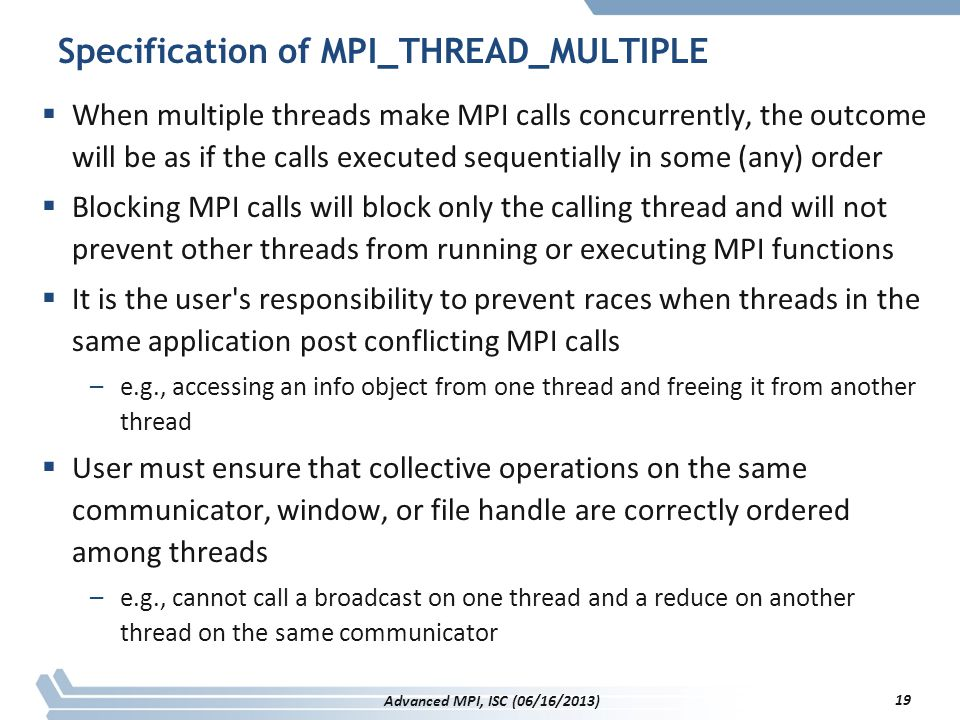 Specification of MPI_THREAD_MULTIPLE