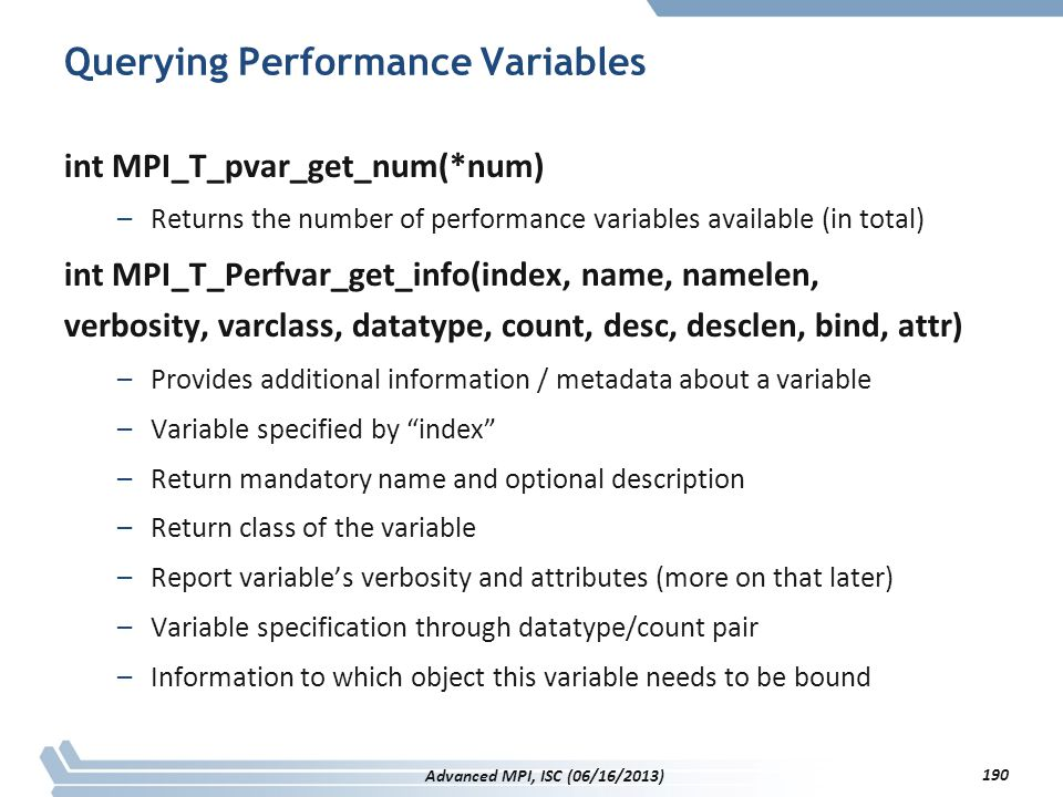 Querying Performance Variables