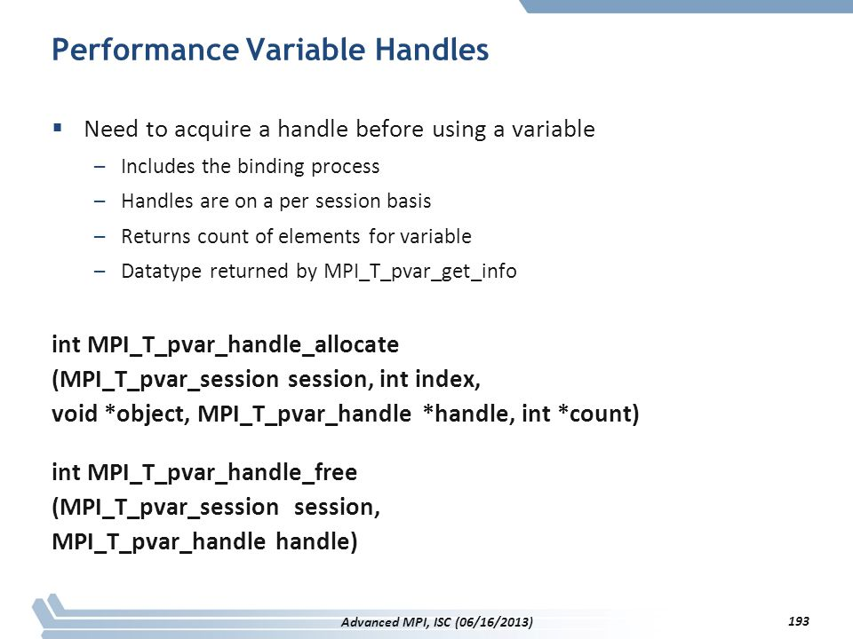 Performance Variable Handles