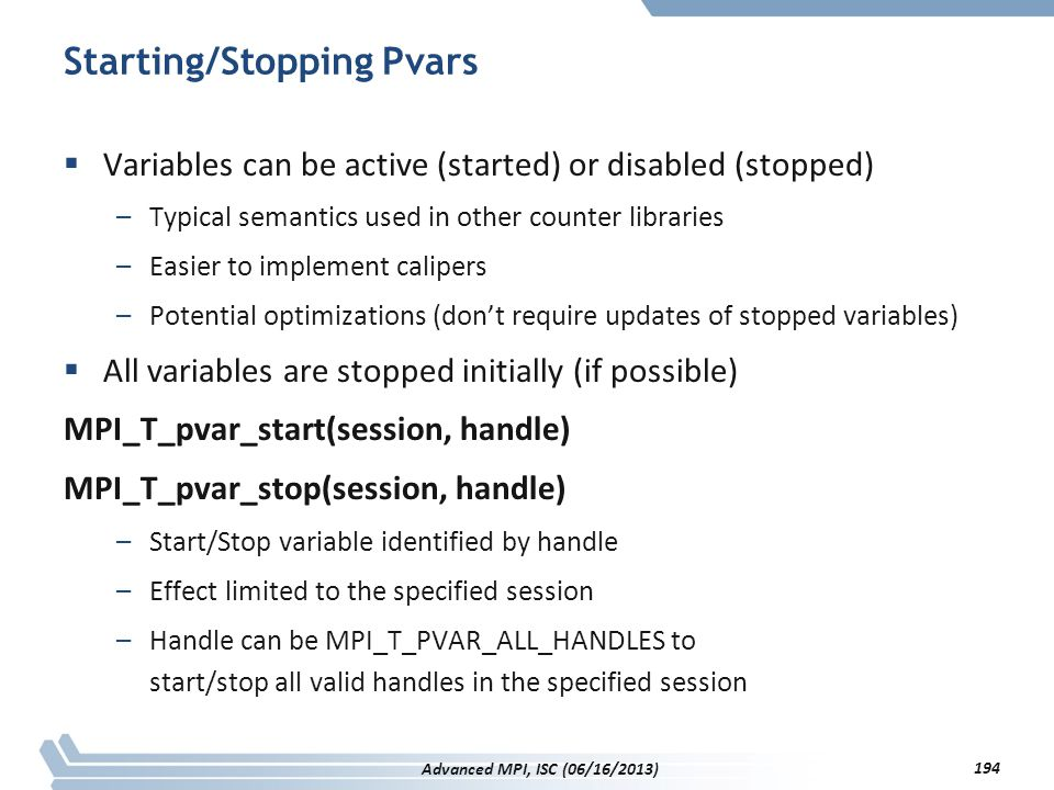 Starting/Stopping Pvars