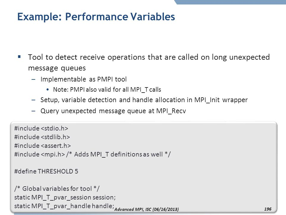 Example: Performance Variables