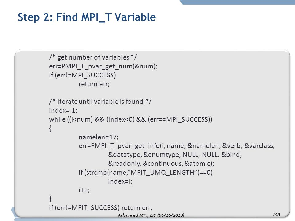 Step 2: Find MPI_T Variable
