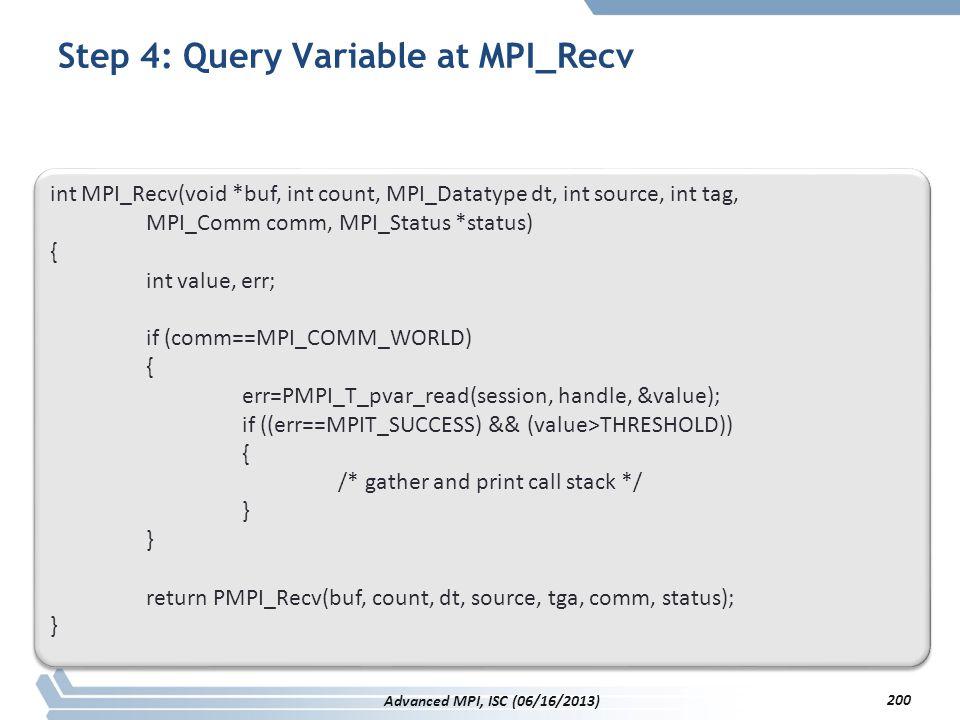Step 4: Query Variable at MPI_Recv