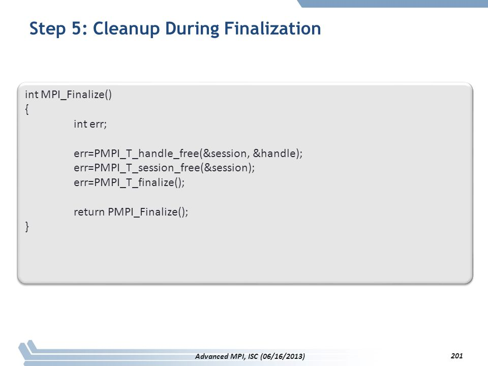 Step 5: Cleanup During Finalization