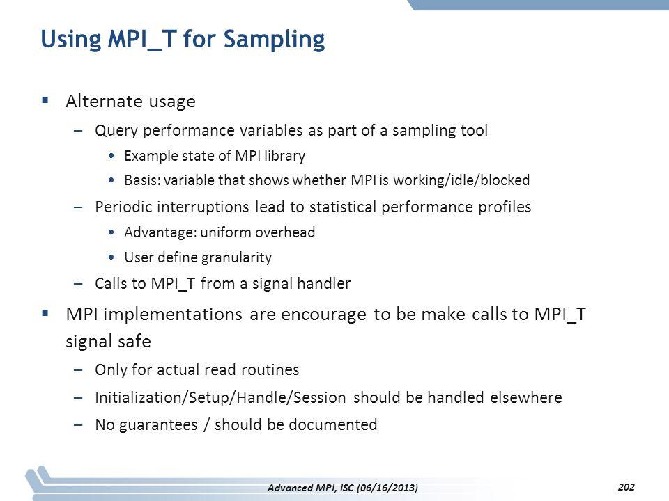 Using MPI_T for Sampling