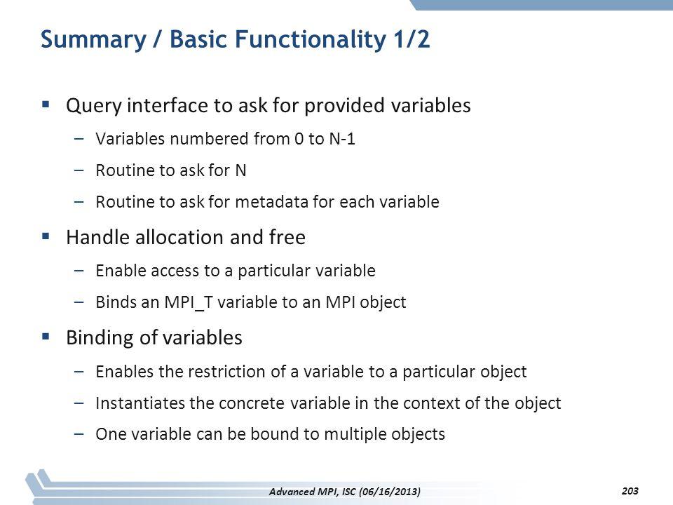 Summary / Basic Functionality 1/2