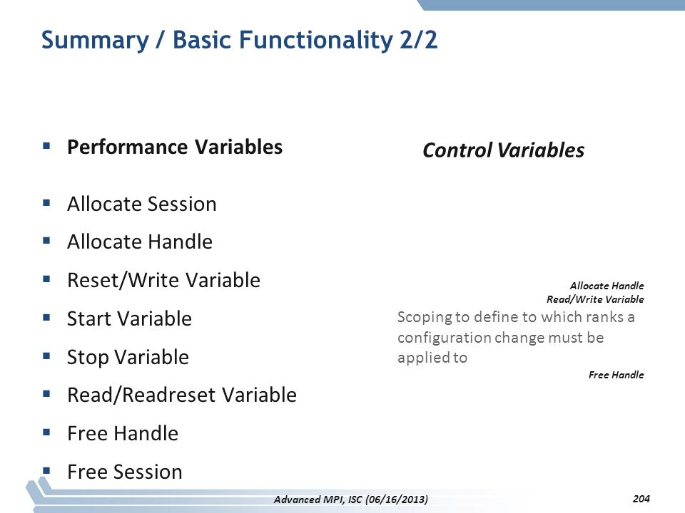 Summary / Basic Functionality 2/2