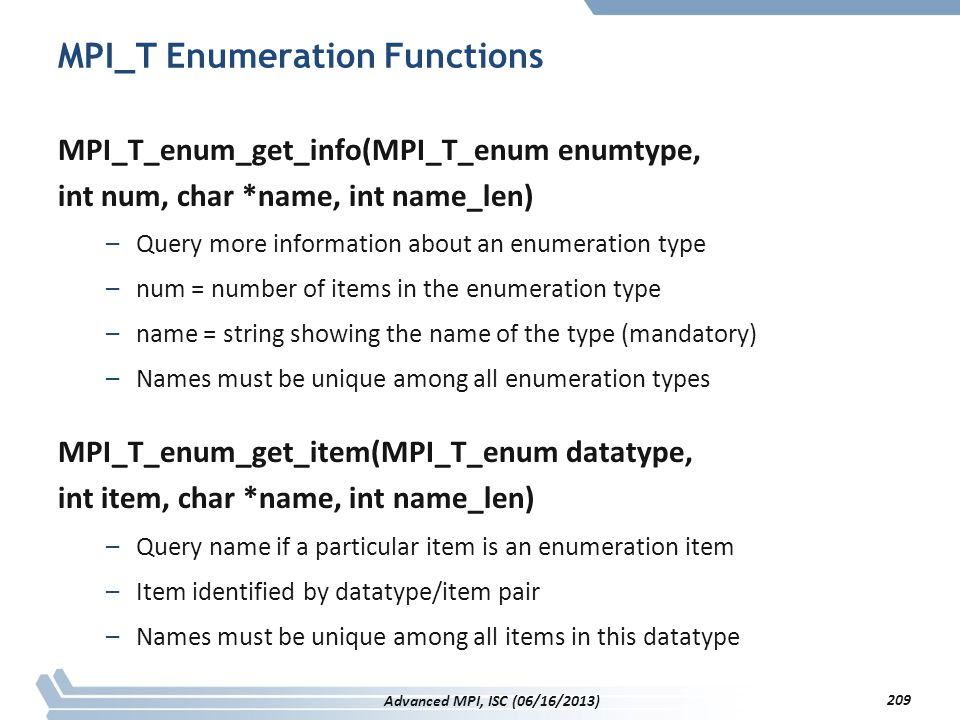 MPI_T Enumeration Functions