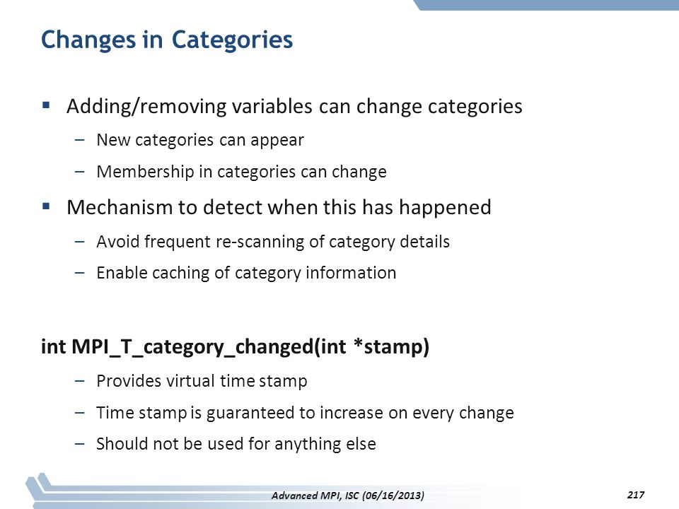 Changes in Categories Adding/removing variables can change categories