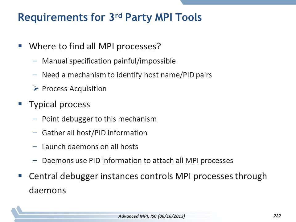 Requirements for 3rd Party MPI Tools