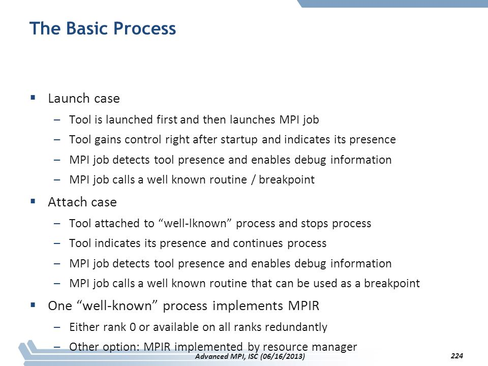 The Basic Process Launch case Attach case