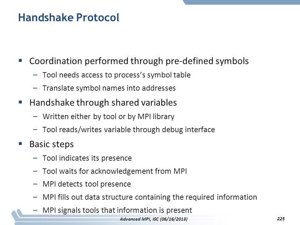 Handshake Protocol Coordination performed through pre-defined symbols