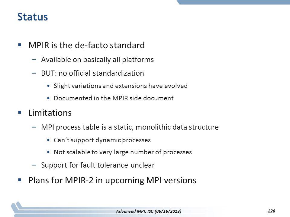 Status MPIR is the de-facto standard Limitations