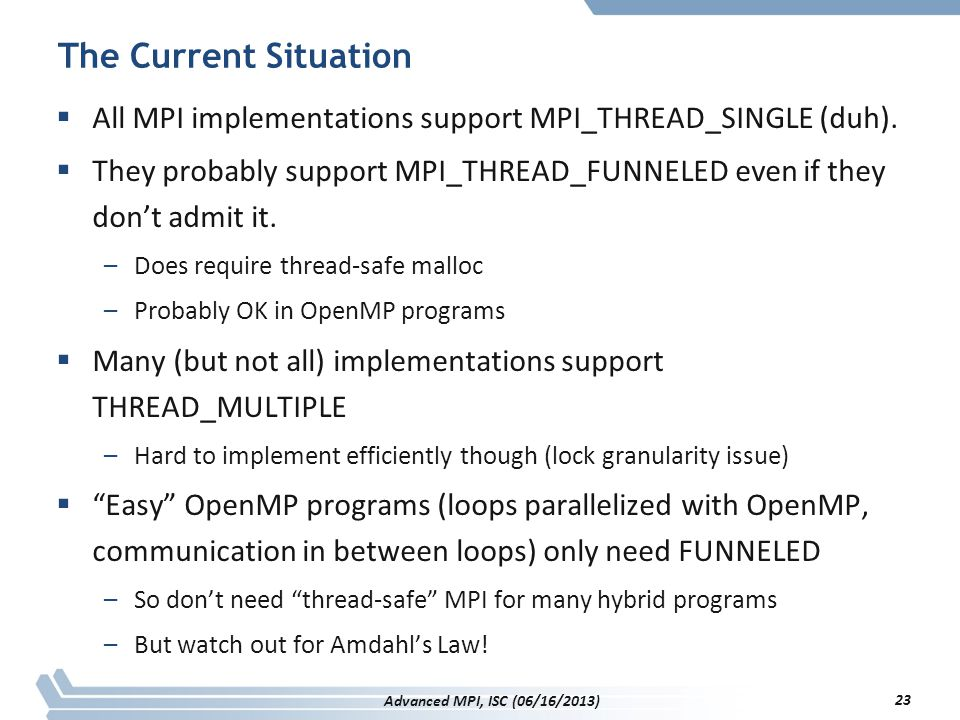 The Current Situation All MPI implementations support MPI_THREAD_SINGLE (duh).