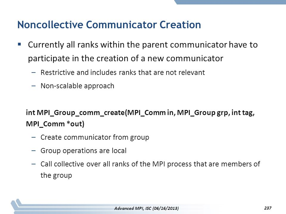 Noncollective Communicator Creation