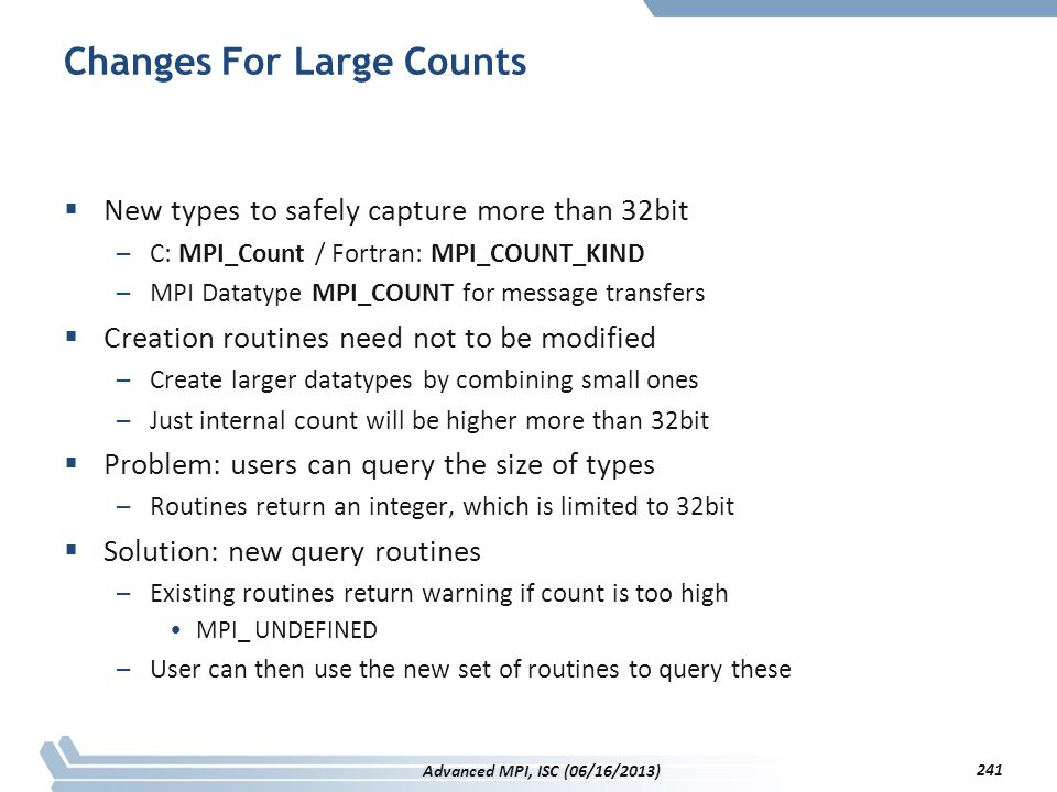 Changes For Large Counts