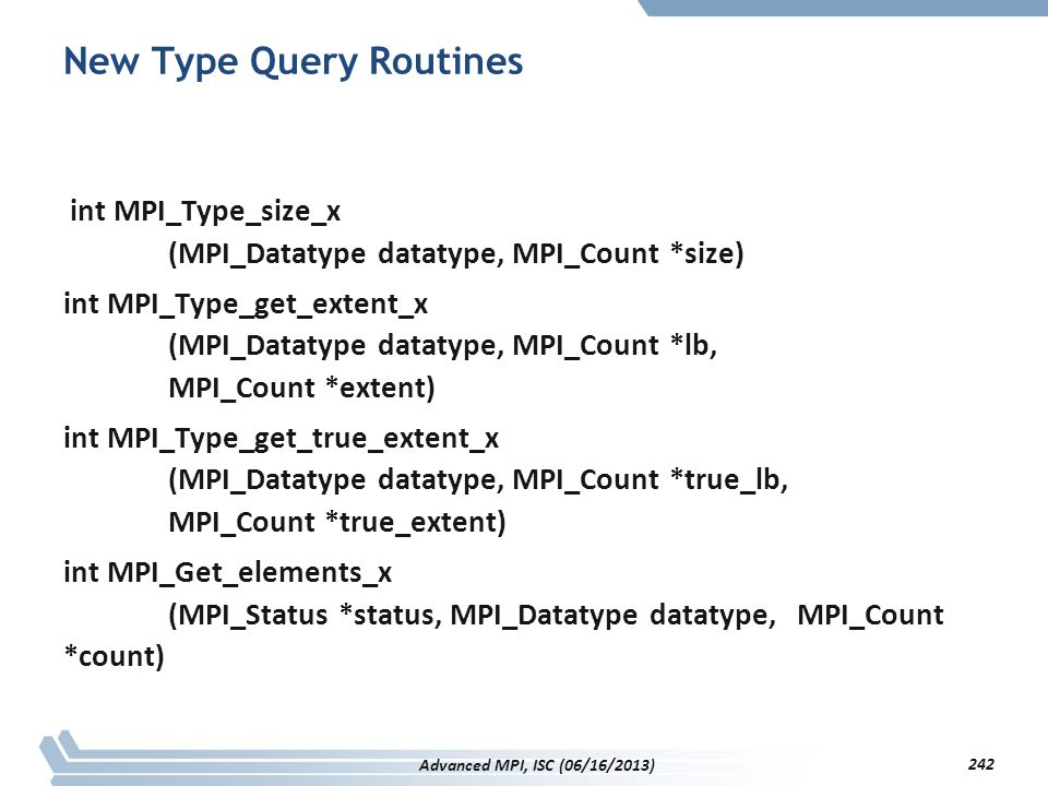 New Type Query Routines