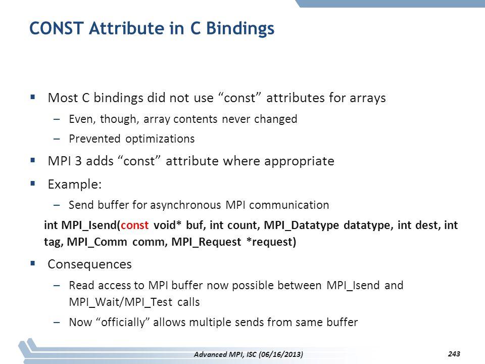 CONST Attribute in C Bindings