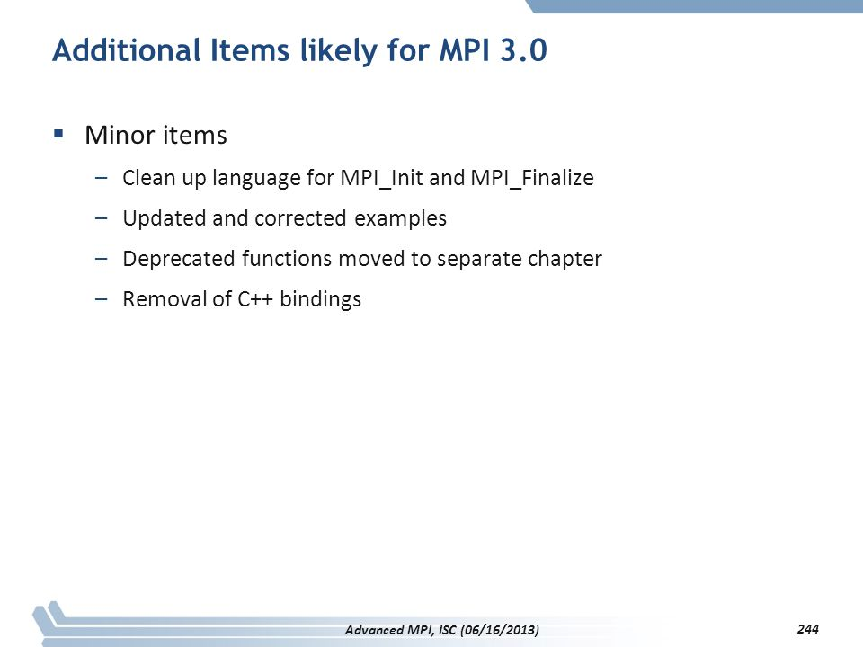 Additional Items likely for MPI 3.0