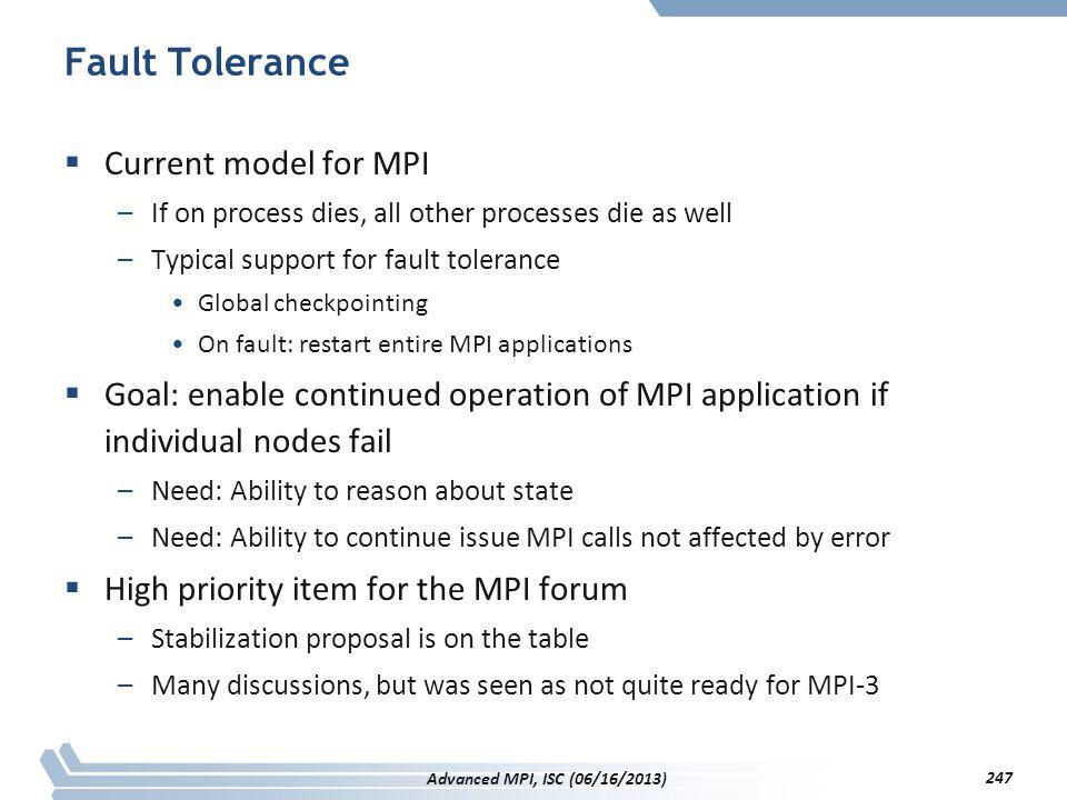 Fault Tolerance Current model for MPI