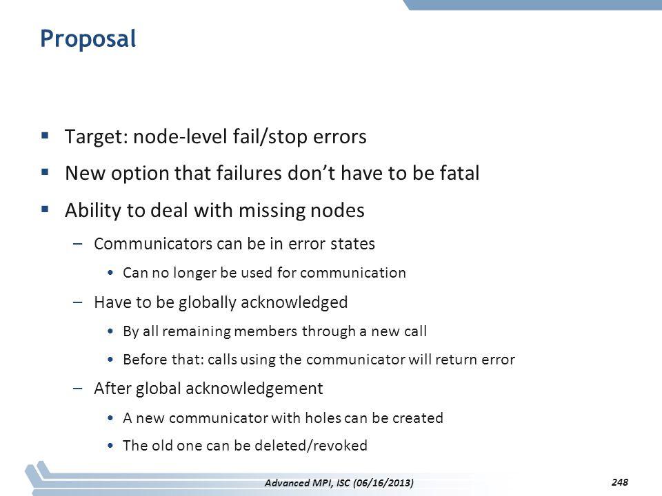 Proposal Target: node-level fail/stop errors