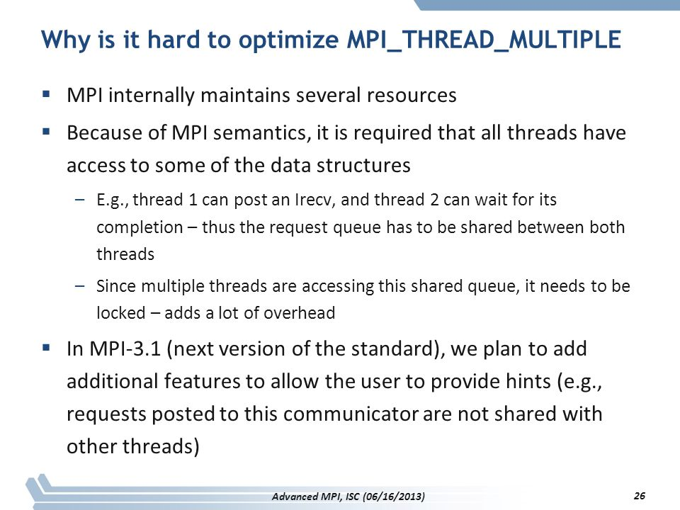 Why is it hard to optimize MPI_THREAD_MULTIPLE