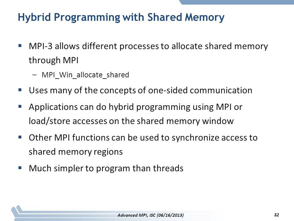 Hybrid Programming with Shared Memory