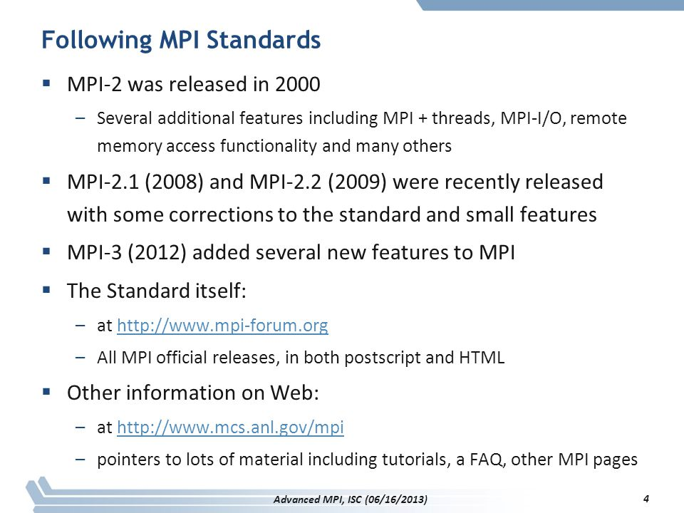 Following MPI Standards