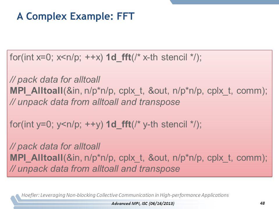 A Complex Example: FFT for(int x=0; x<n/p; ++x) 1d_fft(/* x-th stencil */); // pack data for alltoall.