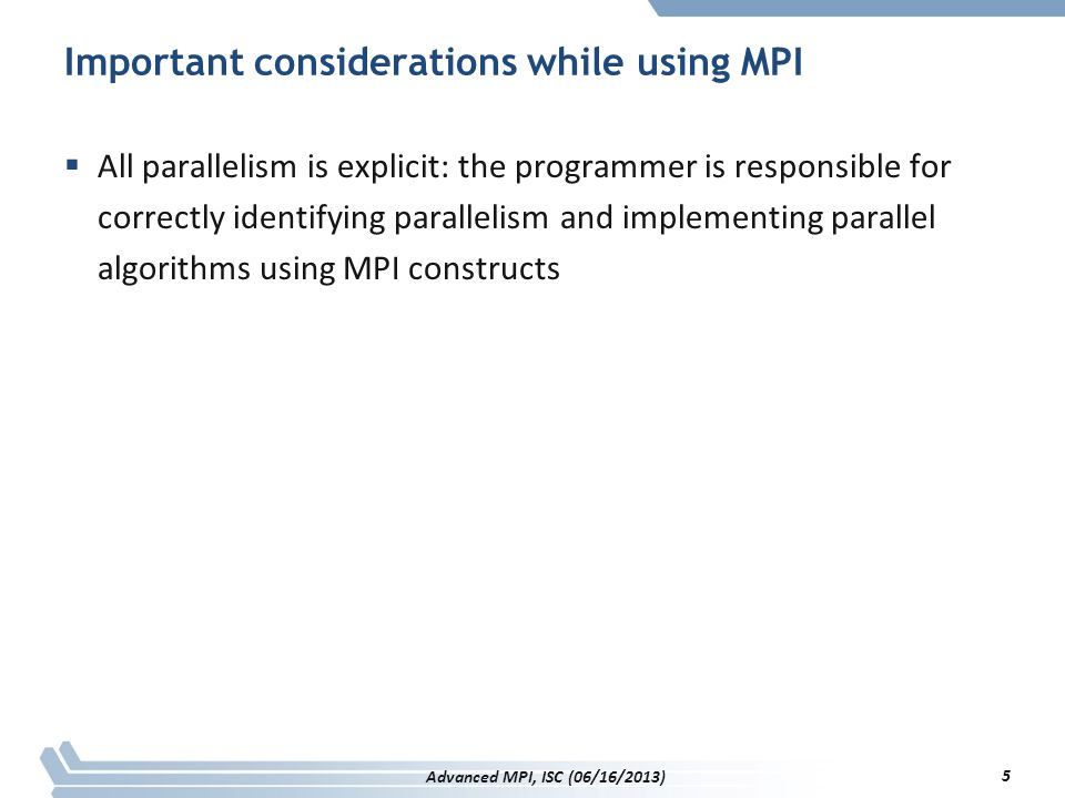 Important considerations while using MPI