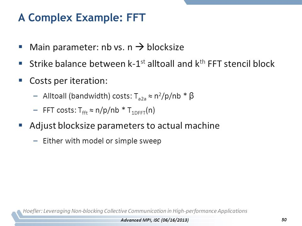 A Complex Example: FFT Main parameter: nb vs. n  blocksize
