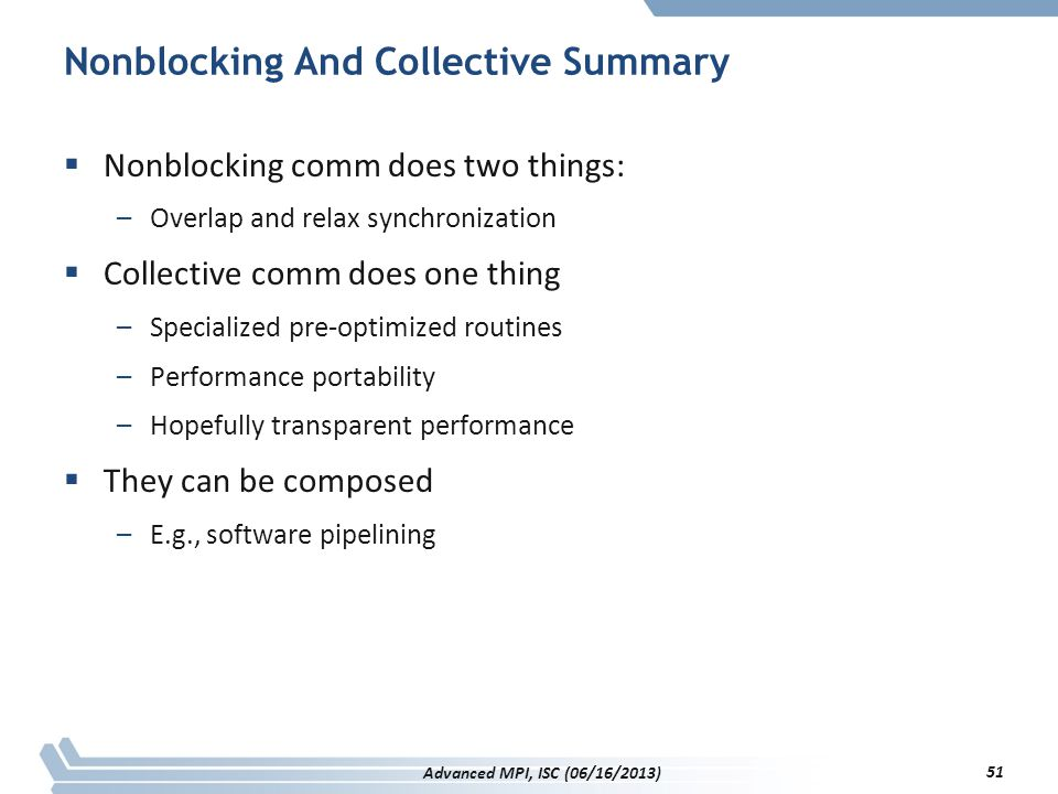 Nonblocking And Collective Summary