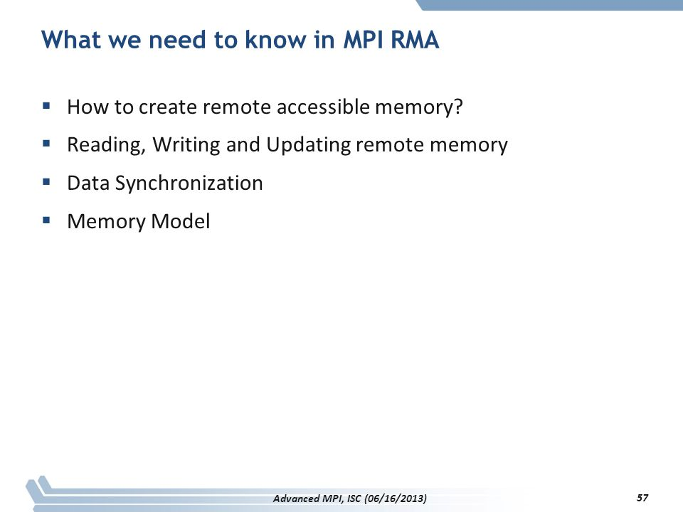What we need to know in MPI RMA