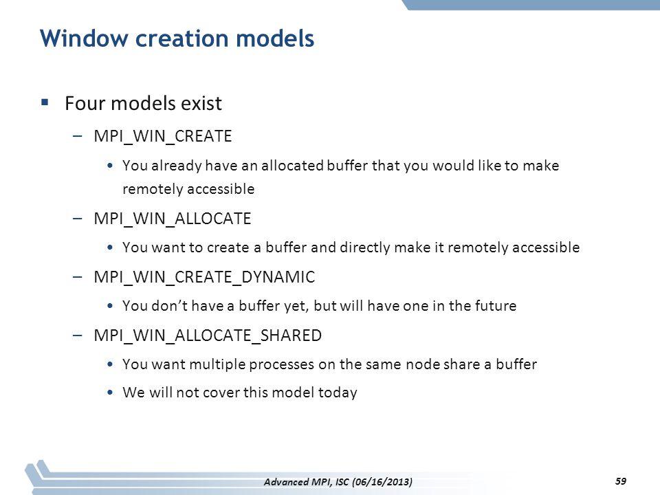 Window creation models