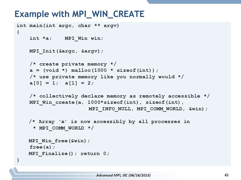 Example with MPI_WIN_CREATE