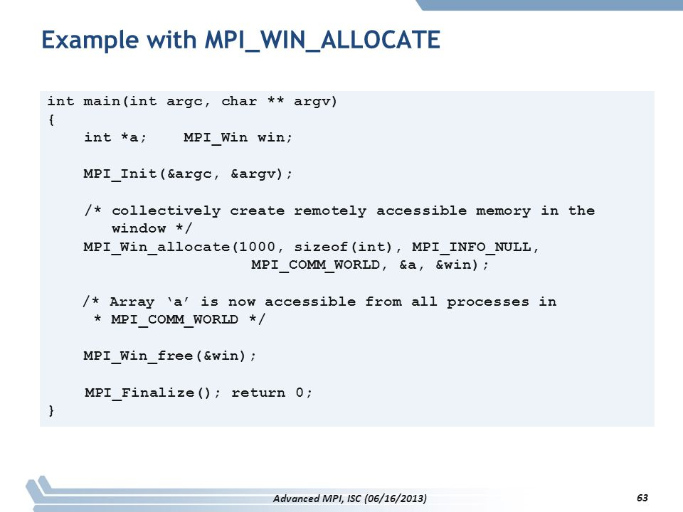 Example with MPI_WIN_ALLOCATE