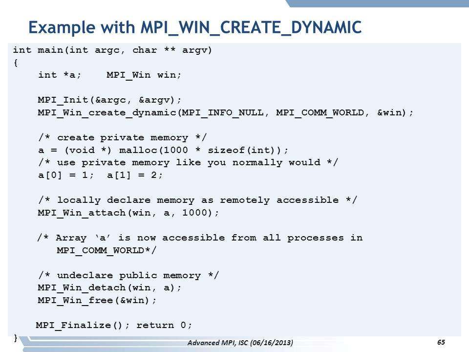 Example with MPI_WIN_CREATE_DYNAMIC
