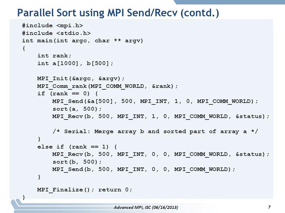Parallel Sort using MPI Send/Recv (contd.)