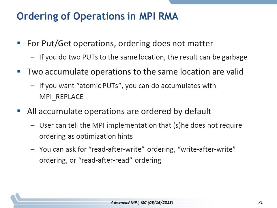 Ordering of Operations in MPI RMA