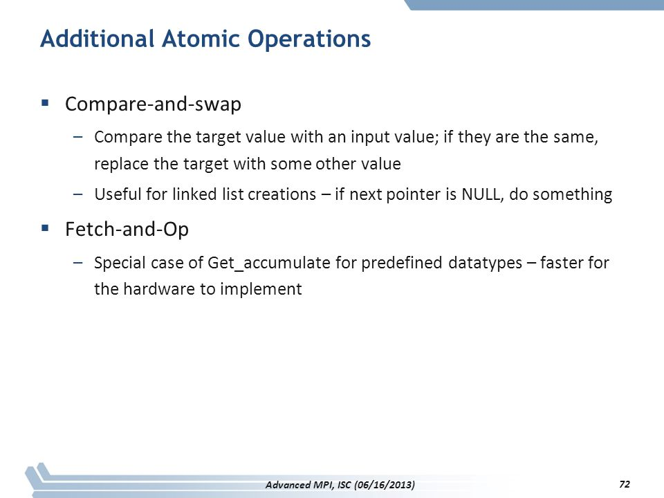 Additional Atomic Operations