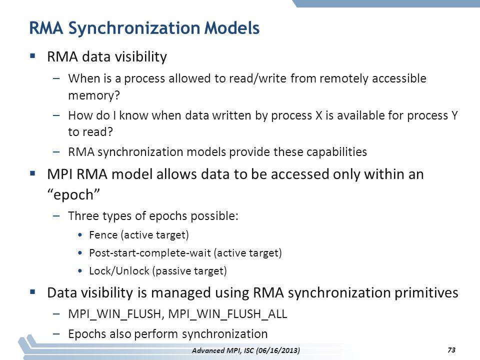 RMA Synchronization Models