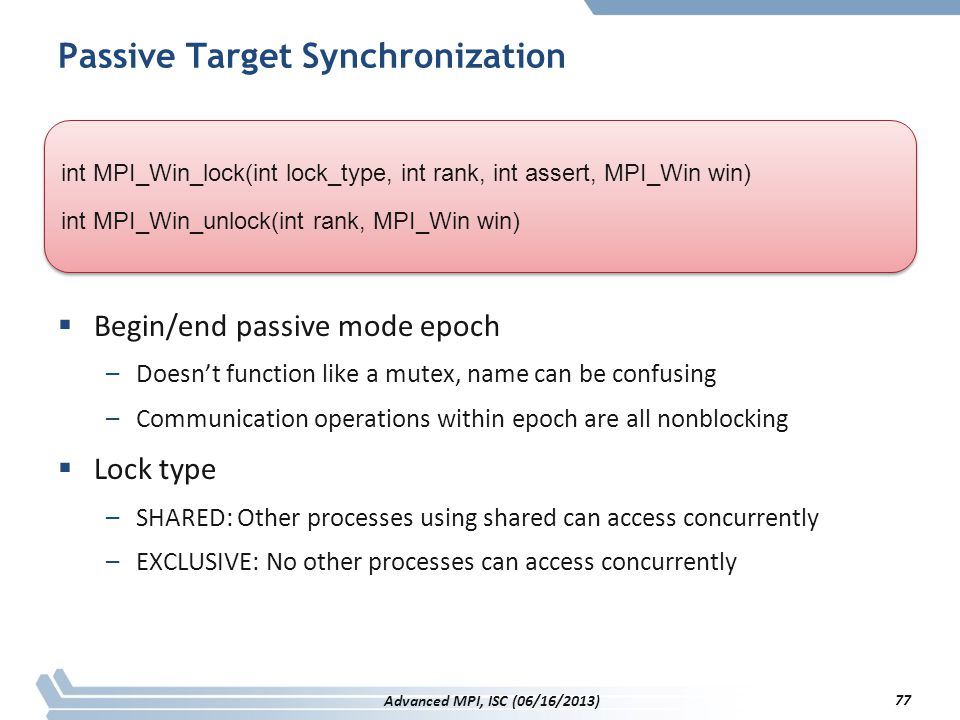Passive Target Synchronization