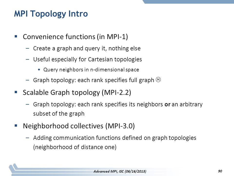 MPI Topology Intro Convenience functions (in MPI-1)