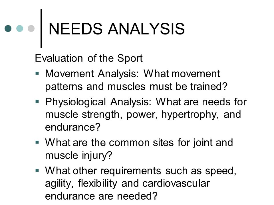 NEEDS ANALYSIS Evaluation of the Sport