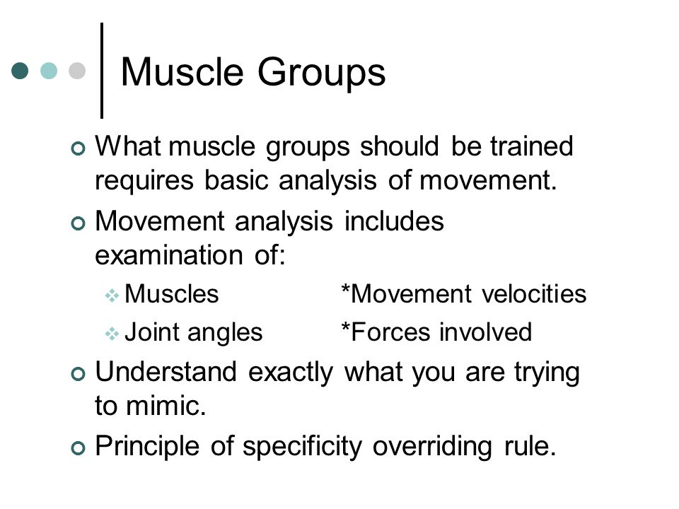 Muscle Groups What muscle groups should be trained requires basic analysis of movement. Movement analysis includes examination of: