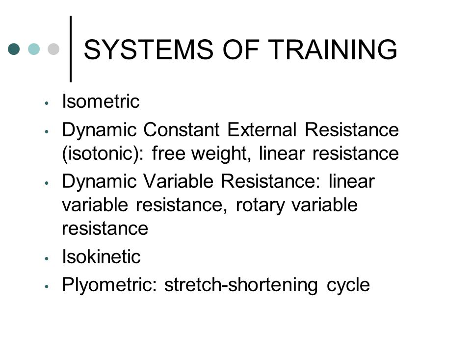 SYSTEMS OF TRAINING Isometric