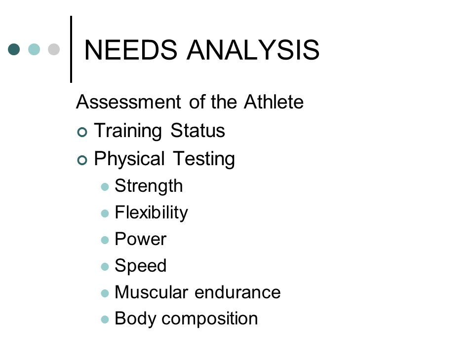 NEEDS ANALYSIS Assessment of the Athlete Training Status