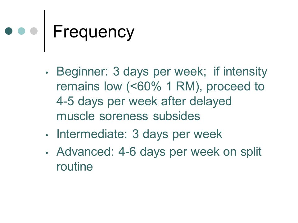 Frequency Beginner: 3 days per week; if intensity remains low (<60% 1 RM), proceed to 4-5 days per week after delayed muscle soreness subsides.